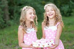 Portrait of two little girls Stock Photo