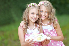 Portrait of two little girls Stock Photos