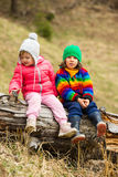 Portrait of two little kids outdoor Stock Photo