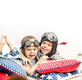 Portrait of two little pilots Royalty Free Stock Photography