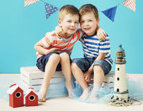 Portrait of two little sailors Royalty Free Stock Photo