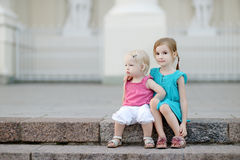 Portrait of two little sisters outdoors Stock Photography