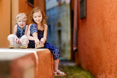 Portrait of two little sisters at summer Royalty Free Stock Photo
