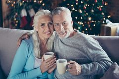 Portrait of two lovely adorable sweet elderly cheerful beautiful royalty free stock photos