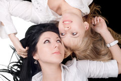 Portrait of the two lovely girls stock images