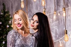 Portrait of two lovely pretty women in sparkly dresses hugging and looking at camera with a smile. Christmas decoration, royalty free stock photography