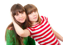 Portrait of two lovely sisters Stock Images