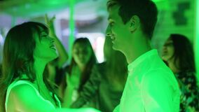 Portrait of two lovers dance together a slow dance in intimate atmosphere stock video footage
