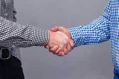Portrait of a two male hands doing handshake Royalty Free Stock Image
