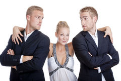 Portrait of two men and a woman Stock Image