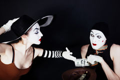 Portrait of two mimes Stock Photos