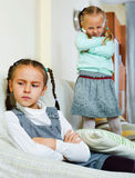 Portrait of two miserable girls having conflict Royalty Free Stock Photography