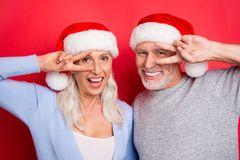 Portrait of two nice cheerful beautiful grey-haired married spou royalty free stock photography