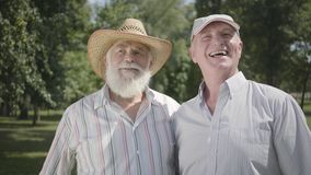 Portrait two old men looking away inviting the third friend to join them in the park. Leisure outdoors. Mature people. Two positive old men looking away inviting stock footage