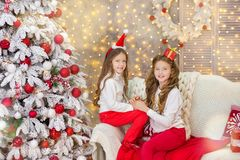 Portrait of two one young girls sisters close to white green Christmas tree. The girls in beautiful evening dresses clothes in New. Year awesome unique Stock Photography