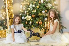 Portrait of two one young girls sisters close to white green Christmas tree. The girls in beautiful evening dresses clothes in New. Year awesome unique Royalty Free Stock Photo