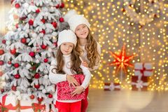 Portrait of two one young girls sisters close to white green Christmas tree. The girls in beautiful evening dresses clothes in New royalty free stock photo