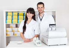 Portrait of two pharmacists Stock Photos