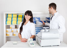 Portrait of two pharmacists Stock Images