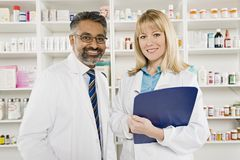 Portrait Of Two Pharmacists Royalty Free Stock Images