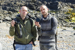 Portrait of two Photographers on nature Royalty Free Stock Images