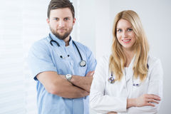 Portrait of two physicians Royalty Free Stock Photography