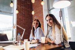 Portrait of two pretty smiling young women looking at camera sitting at work desk. Female freelancers working at home royalty free stock photography