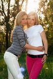 Portrait of two pretty young blonde Royalty Free Stock Image