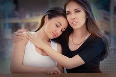 Portrait of two sad girls Royalty Free Stock Photo
