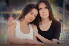 Portrait of two sad girls Royalty Free Stock Image