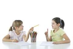 Portrait of two schoolchildren Stock Photo