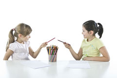 Portrait of two schoolchildren Royalty Free Stock Photography