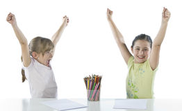 Portrait of two schoolchildren Stock Photos