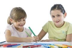 Portrait of two schoolchildren stock images