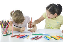 Portrait of two schoolchildren royalty free stock photo