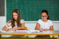 Portrait of two schoolgirls in a classroom. Royalty Free Stock Photos