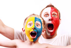 Portrait two screaming fans Poland Ukraine Royalty Free Stock Photo
