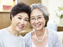 Portrait of two senior asian women Stock Photography