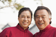 Portrait of two senior Taijiquan practitioners in Beijing Stock Photos