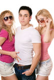 Portrait of a two sensual women and handsome young man Royalty Free Stock Photo