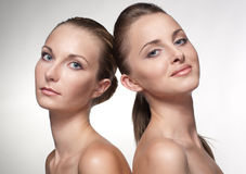 Portrait of two sexy caucasian young girls Stock Photos