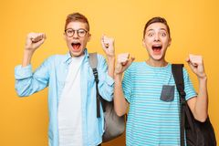 Portrait of two shocked teenagers, guys show victory gesture, on yellow background. Portrait of two shocked teenagers, guys show victory gesture stock images