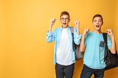 Portrait of two shocked teenagers, guys show victory gesture, on yellow background. Portrait of two shocked teenagers, guys show victory gesture stock photo