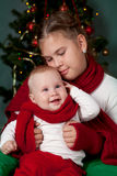 Portrait of two sisters, christmas Royalty Free Stock Photography