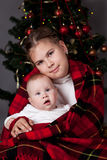 Portrait of two sisters, christmas Stock Photo