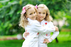 Portrait of two sisters twins Royalty Free Stock Image