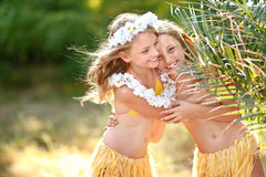 Portrait of two sisters twins Royalty Free Stock Photography