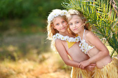 Portrait of two sisters twins stock photo