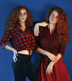 Portrait of two Sisters Young girls fashion models with gorgeou Stock Photos