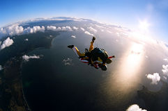 Portrait of two skydivers in action Royalty Free Stock Photography